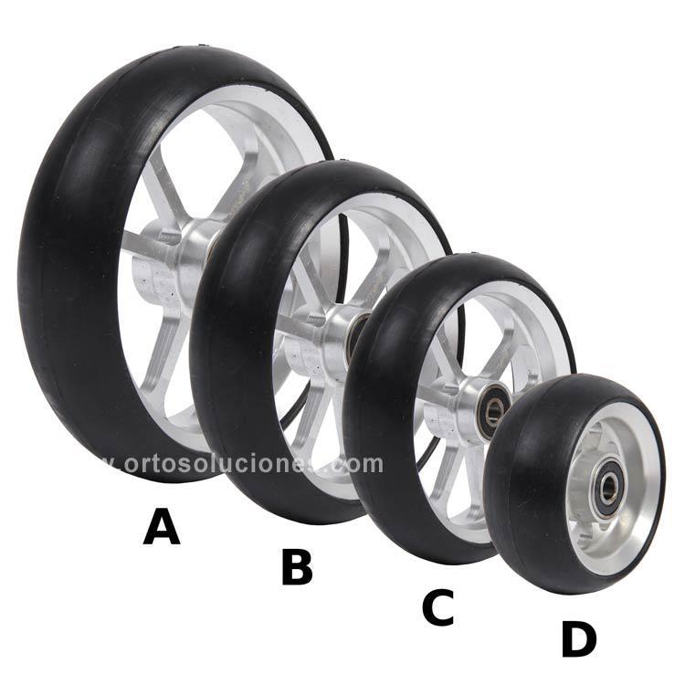 Rueda de aluminio goma negra orto soluciones - Ruedas para sillas de ruedas ...