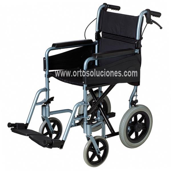 Silla plegable aluminio pl80 con freno orto soluciones for Sillas de ruedas estrechas