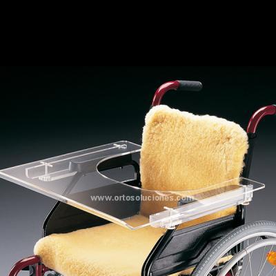 Mesita transparente para silla de ruedas